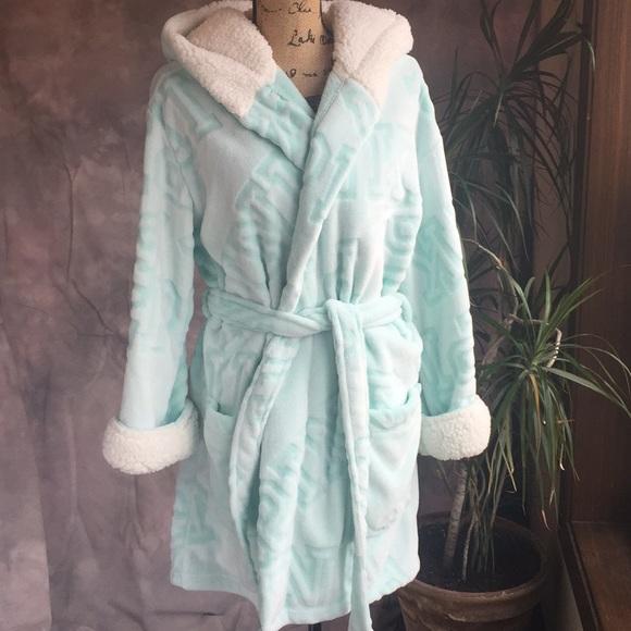 Victoria/'s Secret PINK Cozy Hooded Short Plush Sherpa Lined Robe NET